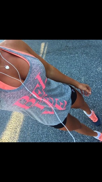 shirt believe tank top sportswear workout top grey t-shirt pink grey pink letters grey top sports top