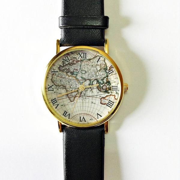 jewels map watch watch watch vintage style freeforme black watch