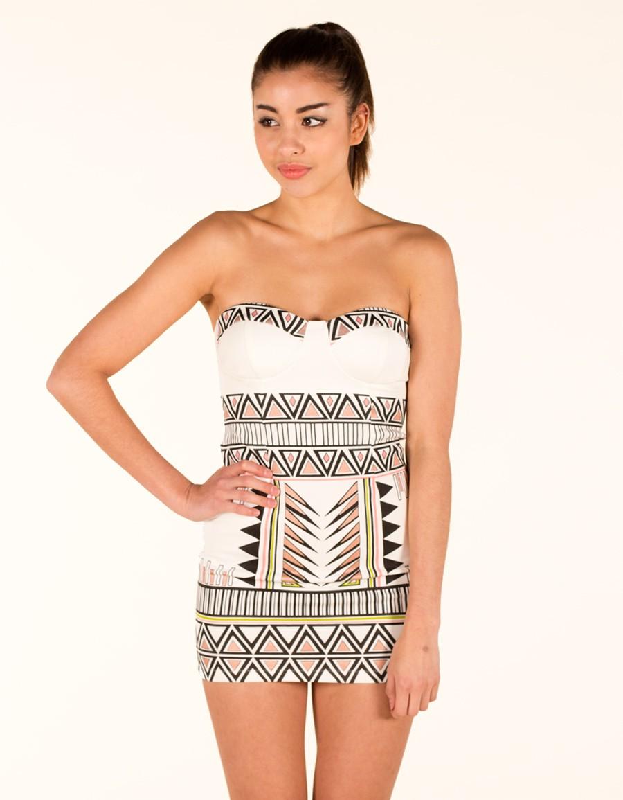 White Strapless Dress - White Strapless Aztec Print Bodycon   UsTrendy