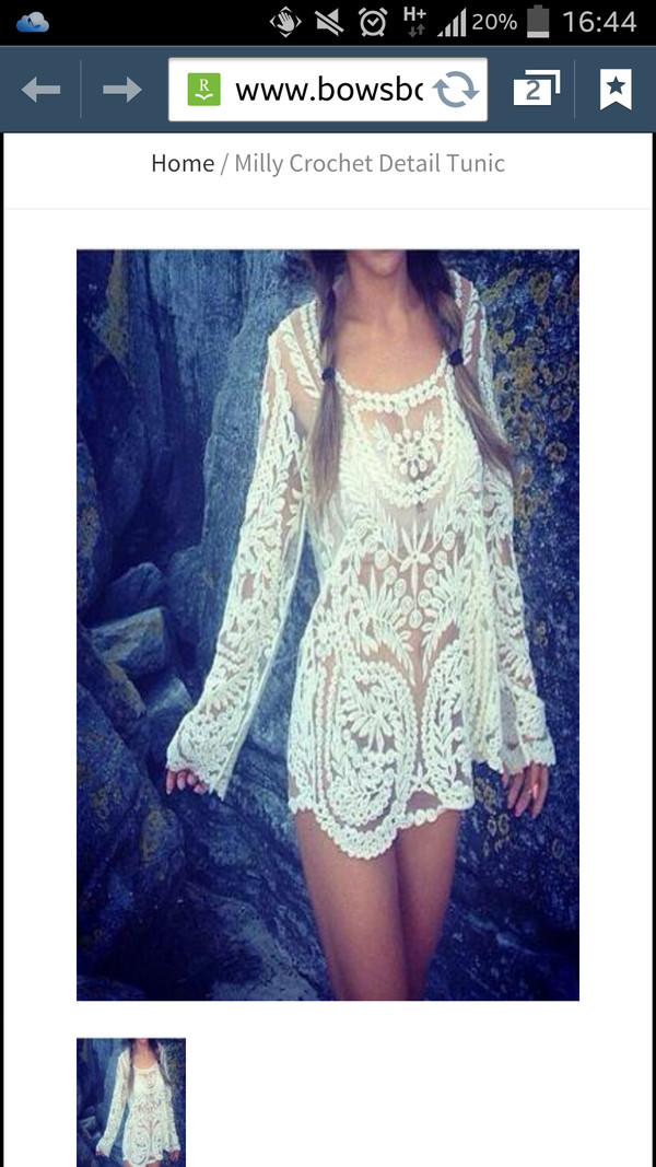 dress tunic dress crochet white beaded