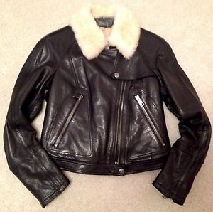 Burberry Brit Leather Jacket with Sheraling Collar Retail $1695 Size US 8 | eBay
