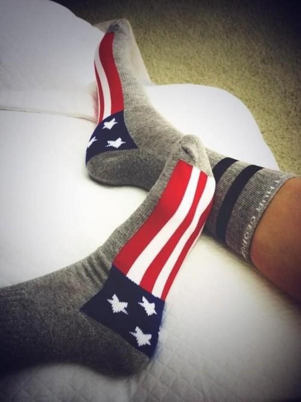 socks red white blue american flag