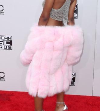 jacket faux fur coat faux fur coat faux fake pinj pink faux fur jacket