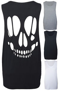 Ladies New Sleeveless Skull Cut Out Womens Open Back T-Shirt Vest Top Size 8-14 | eBay