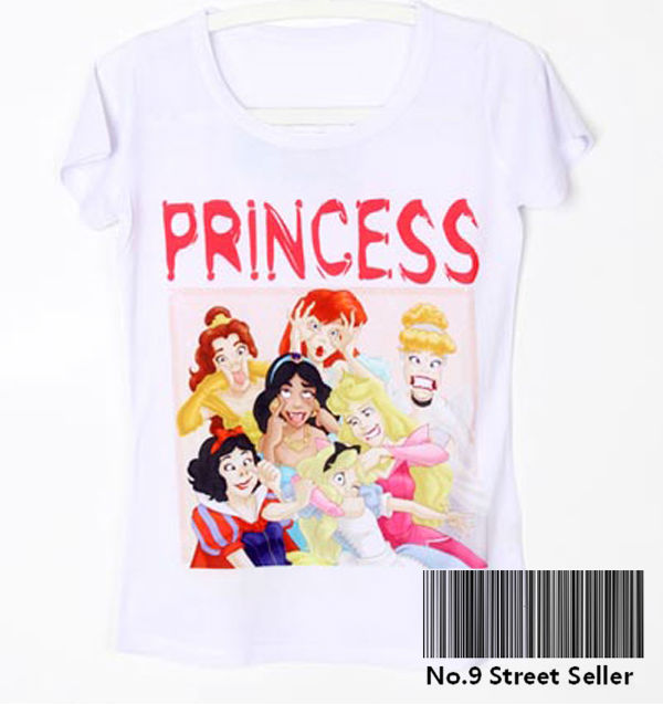 Track Ship Vintage Retro Cool Rock&Roll Punk T shirt Top Tee Funny Sweet Cute Seven Princess Grimace Smile Summer Party Printed-in T-Shirts from Apparel & Accessories on Aliexpress.com