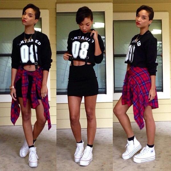 skirt converse black fashion outfit cute white plad shirt shirt shorts