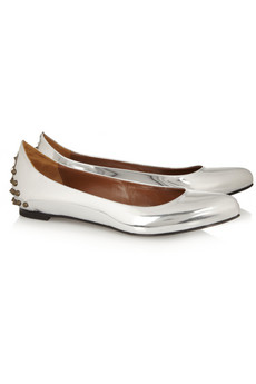 McQ Alexander McQueen Studded metallic leather ballet flats - 51% Off Now at THE OUTNET