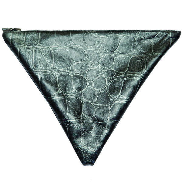 Black Metallic Croc Triangle Clutch – Geneva J