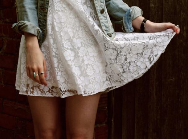 mini white dress dress clothes lace white floral seetrough short cute