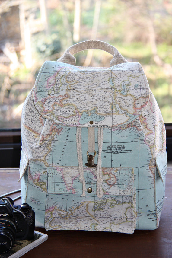 World Map Prints Backpack/Atlas Large by leyyabags on Etsy