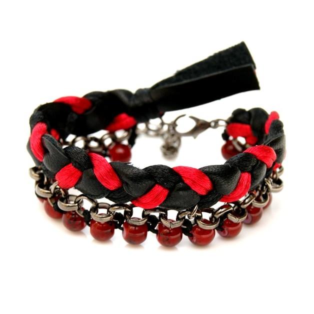 Braccialetti dell'amicizia - Boho - trio - black and red  - un prodotto unico di SheBijou su DaWanda