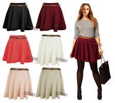 New Womens High Waisted Stretchy Coloured Flared Skater Flippy Flared Skirt 8-14 | eBay