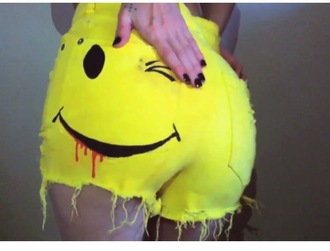 shorts wink high waisted shorts yellow smiley