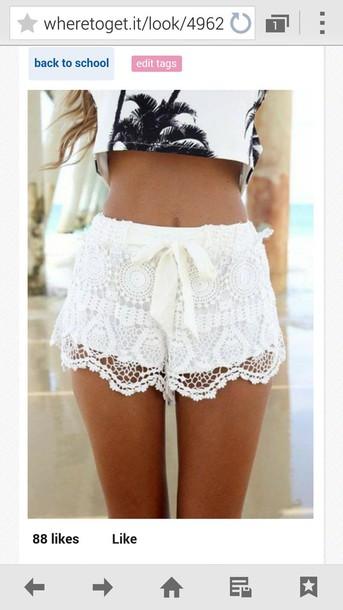 shorts white lace shorts