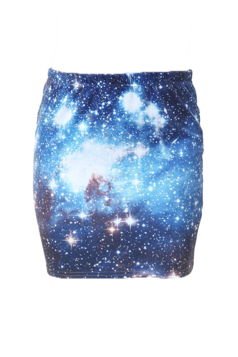 Galaxy Printed Short Skirt,Cheap in Wendybox.com