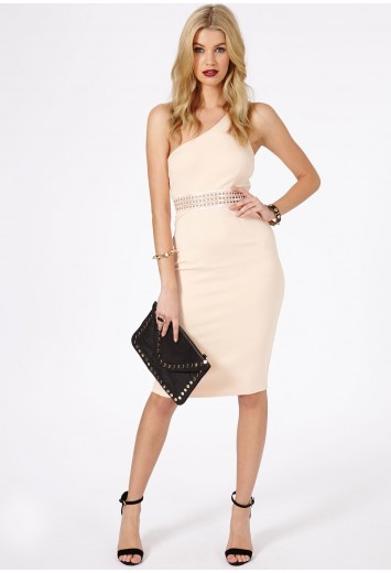 Noa Waist Band Detail One Shoulder Midi Dress - Dresses - Midi Dresses - Missguided