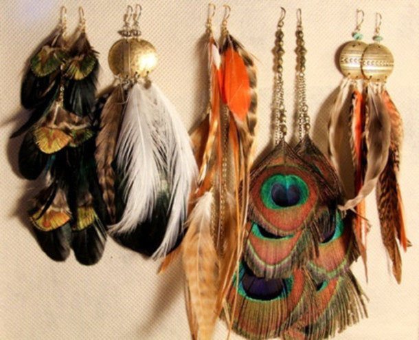 jewels feathers earrings colorful peacock feathers hippie earings colorful