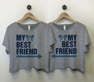 My Best Friend Arrow: Custom Bella Flowy Boxy Lightweight Crop Top T-Shirt - Customized Girl