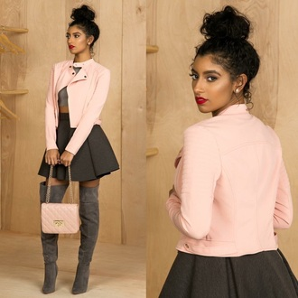 jacket grey boots pink dusty pink blush pink baby pink light pink pink coat bomber jacket boots black bomber jacket purse pastel pink urban pastel pink handbags and purses bags and purses grey grey coat women chanel handbag handbag black boots over the knee boots knee high boots thigh high boots suede boots skater skirt skirt leather motorcycle jacket mini shoulder bag