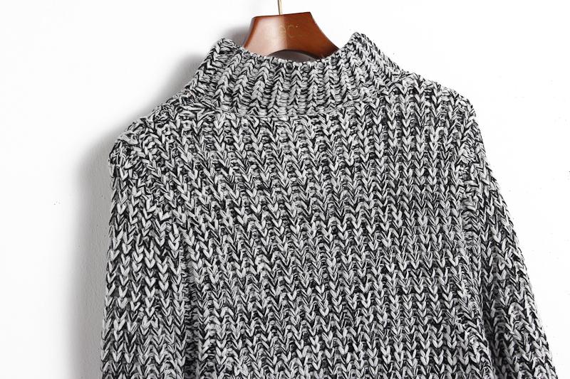 Grey High Neck Long Sleeve Knit Sweater - Sheinside.com