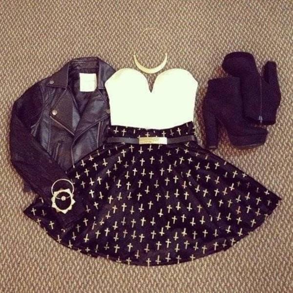 skirt high heels boots leather jacket leather bangle necklace belt black white gold white crosses blouse jacket