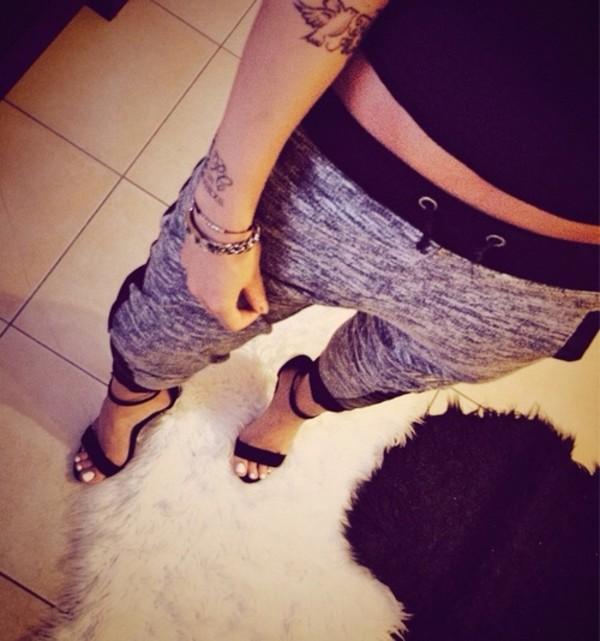 pants grey black sweat sweatpants heels high heels tattoo shoes nail polish