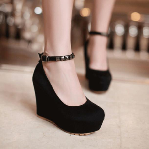 Shoes Heels Platform Shoes Mary Janes Black Wedges