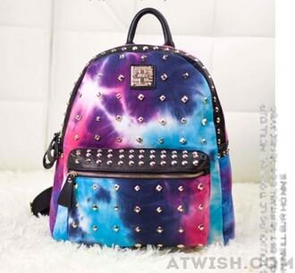 bag retro backpack school bag galaxy print rivet