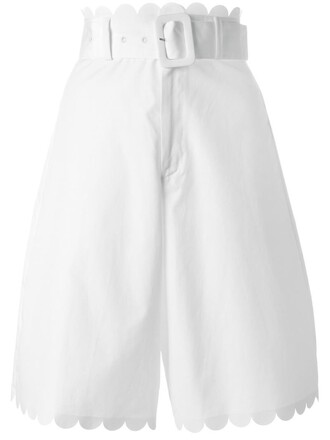 shorts scalloped shorts women scalloped white cotton