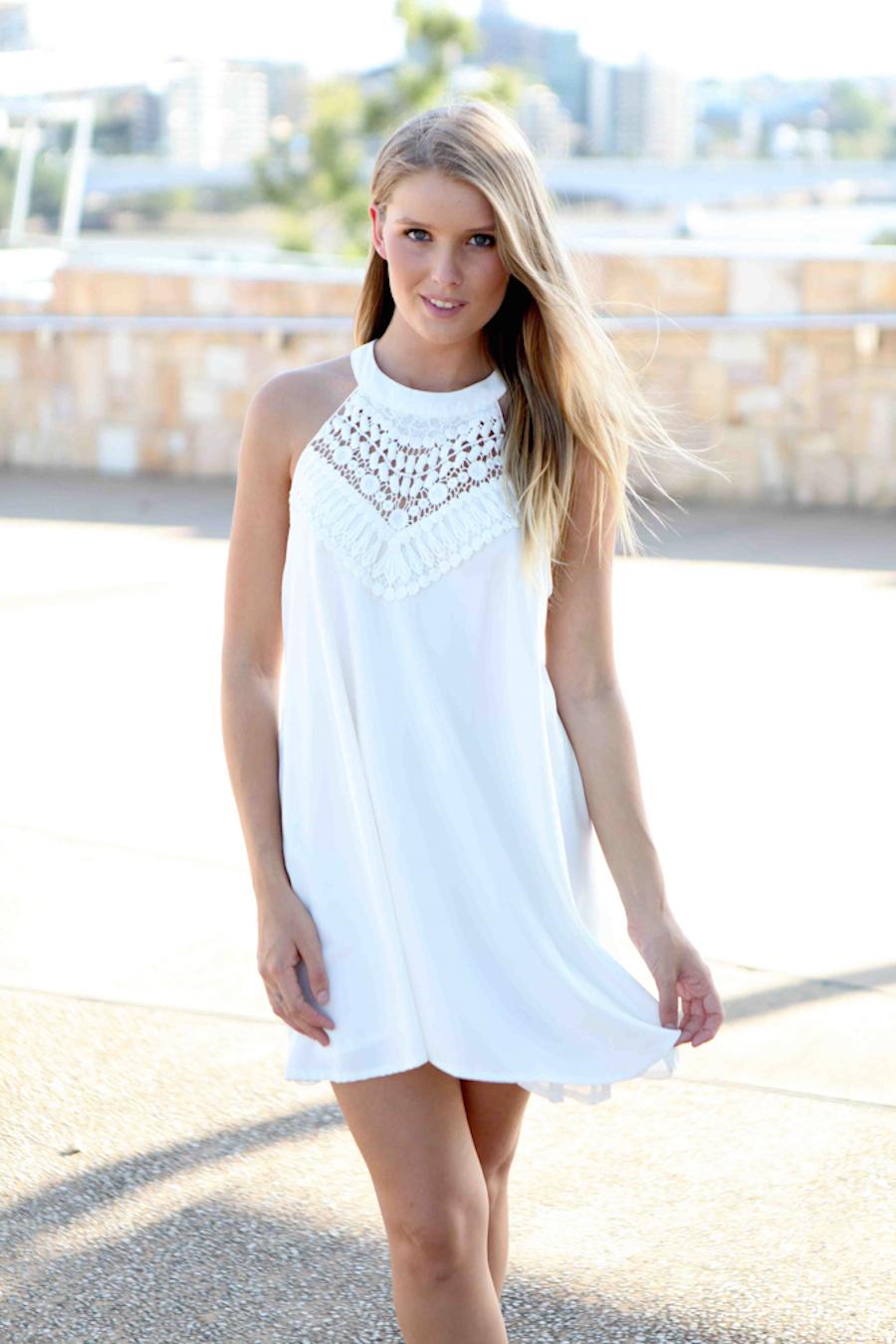 White Halter Dress - White Sleeveless Halter Lace Dress | UsTrendy