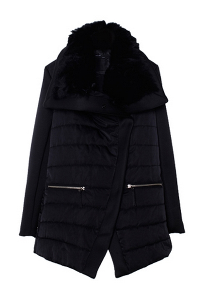 Black Padded Jacket with Fur Collar - OASAP.com