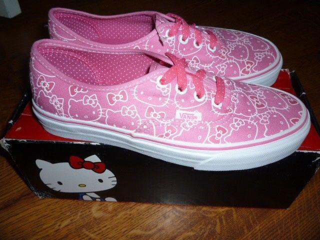 New Vans Hello Kitty Pink White Canvas Skate Shoes Sz 7 | eBay