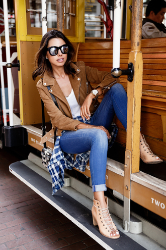 viva luxury blogger fall outfits leather jacket perfecto peep toe boots suede jacket mirrored sunglasses cuffed jeans lace-up shoes