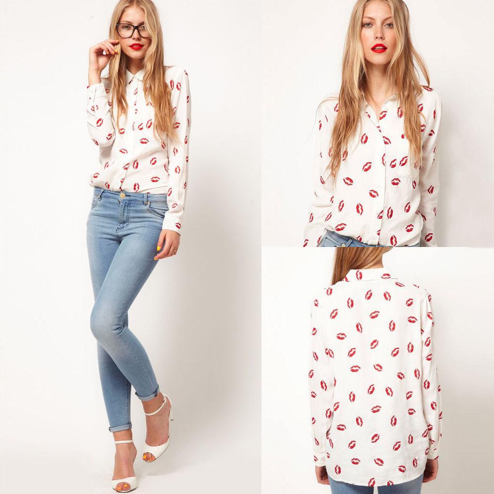 New Stand Collar Button Silk Like Red Lip Print Long Sleeve Shirt Tops Blouse | eBay