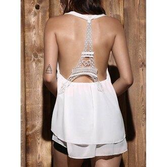 dress summer white open back eiffel tower fashion spring trendsgal.com