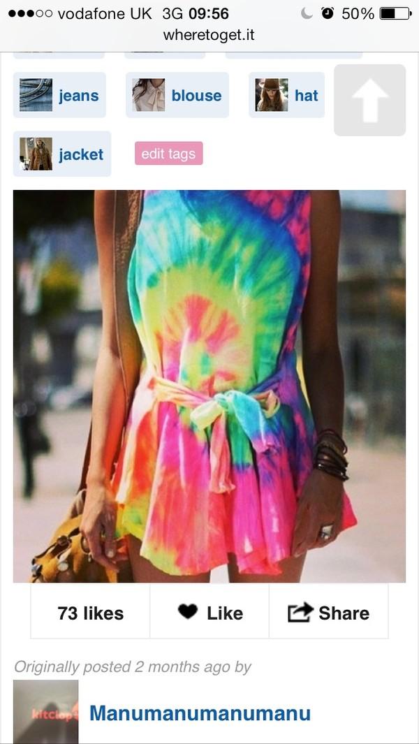 dress tie dye rainbow