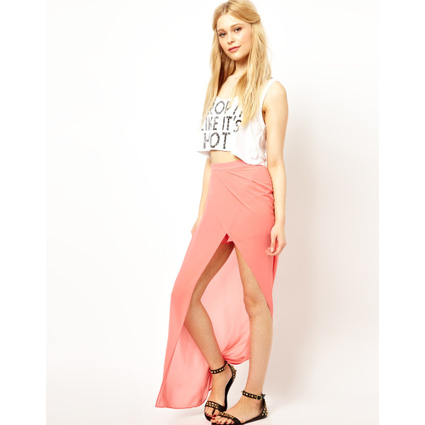 Jovonnista Wrap Detail Maxi Skirt - Polyvore