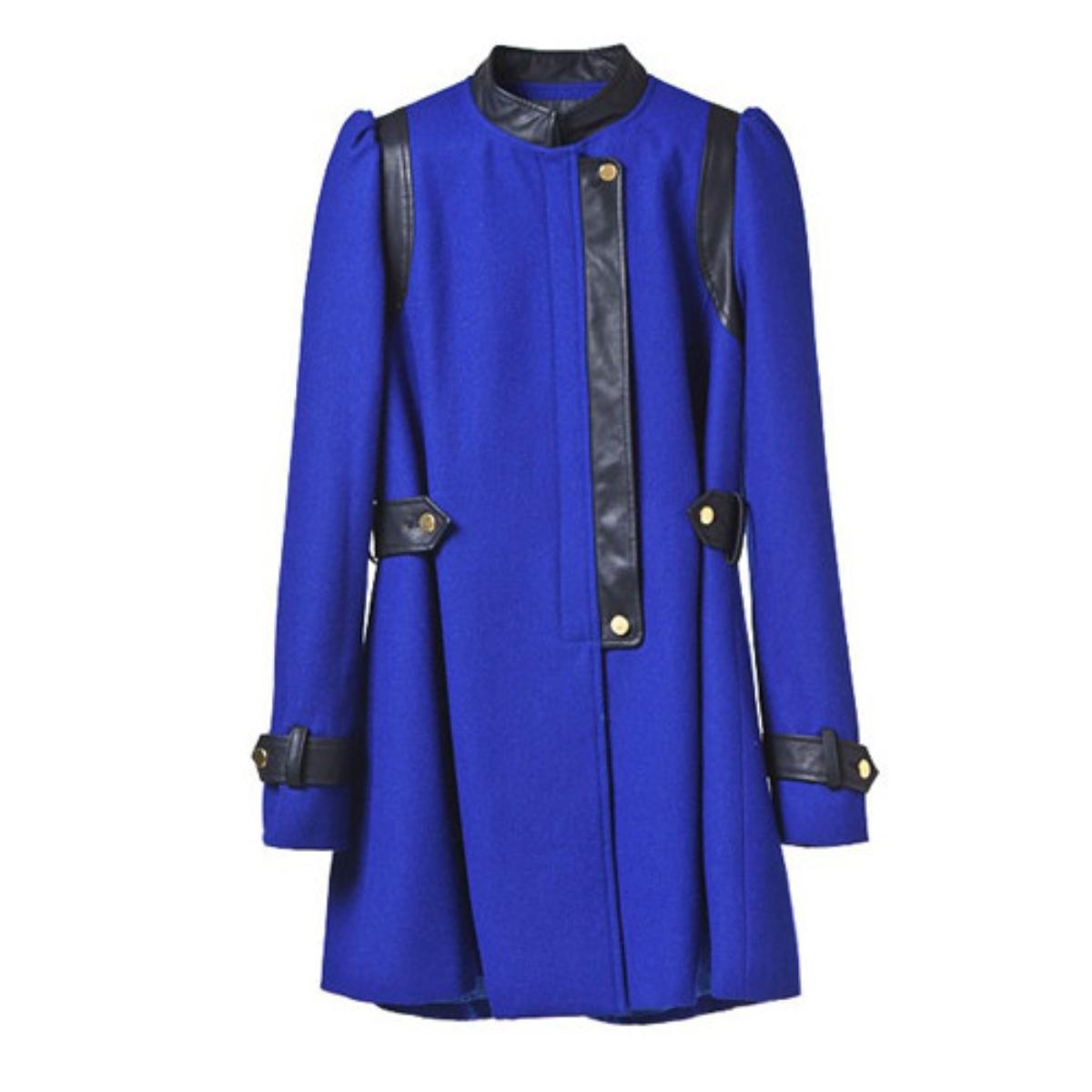 Stand Collar Split Joint Woolen Coat,Cheap in Wendybox.com