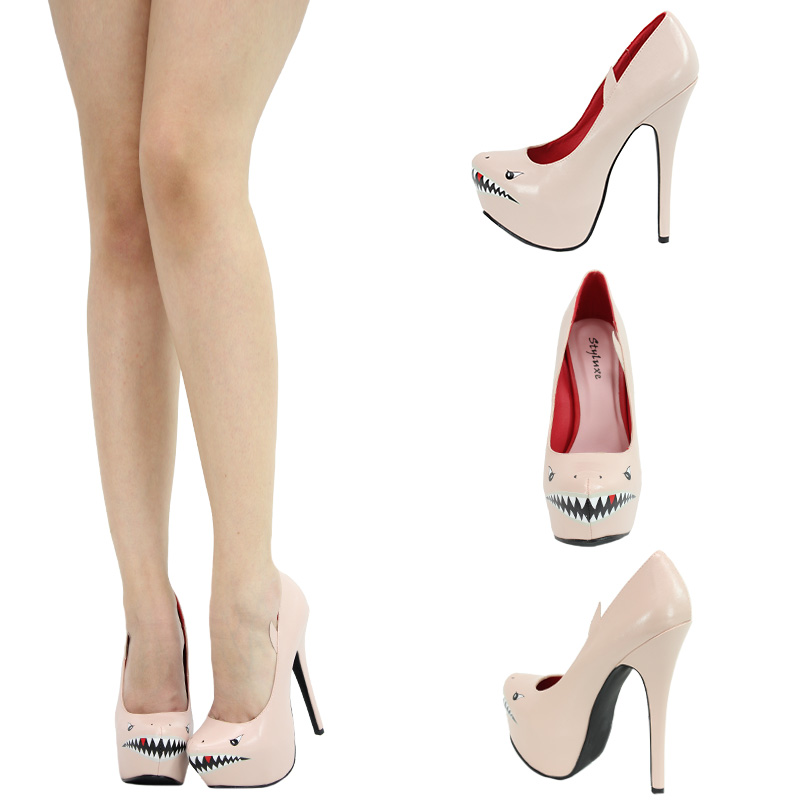 Nude Red Blk Shark Face Almond Toe High Heel Platform Stiletto Women Pump Sandal | eBay