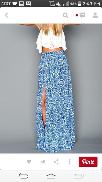 skirt blue skirt white crop tops slit