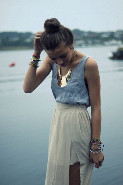 skirt beach cream tank top jewelry bracelets teenagers statement necklace jewels date outfit