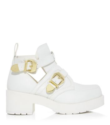 White Chunky Cut Out Buckle Ankle Boots
