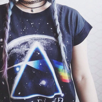 pink floyd band merch printed t-shirt shirt rainbow earth black grapic tee band t-shirt hipster grunge