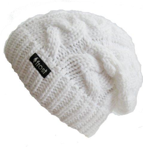 Frost Hats Winter Hat for Women WHITE Slouchy Beanie Cable Hat Knitted Winter Hat Frost Hats One Si on Wanelo