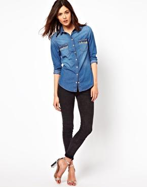 Warehouse | Camisa vaquera con bolsillos con tachuelas de Warehouse en ASOS