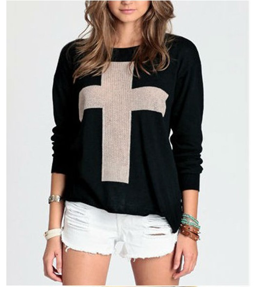 1pcs Fashion Womens Cross Pattern Knit Sweater Outerwear Crew Pullover Tops lady winter thick long sleeve sweater-in Pullovers from Apparel & Accessories on Aliexpress.com