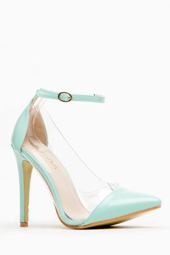 Liliana  Mint Pointed Toe Ankle Strap Vinyl Heels @ Cicihot Heel Shoes online store sales:Stiletto Heel Shoes,High Heel Pumps,Womens High Heel Shoes,Prom Shoes,Summer Shoes,Spring Shoes,Spool Heel,Womens Dress Shoes,Prom Heels,Prom Pumps,High Heel Sandals
