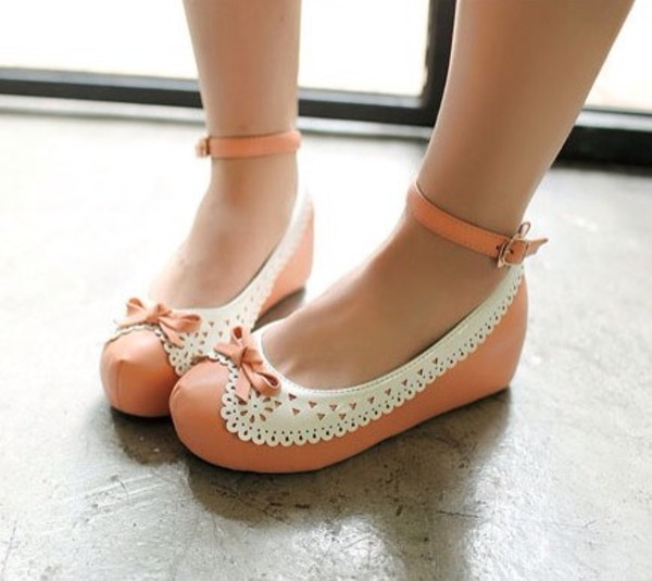 shoes ankle strap flats peach pink