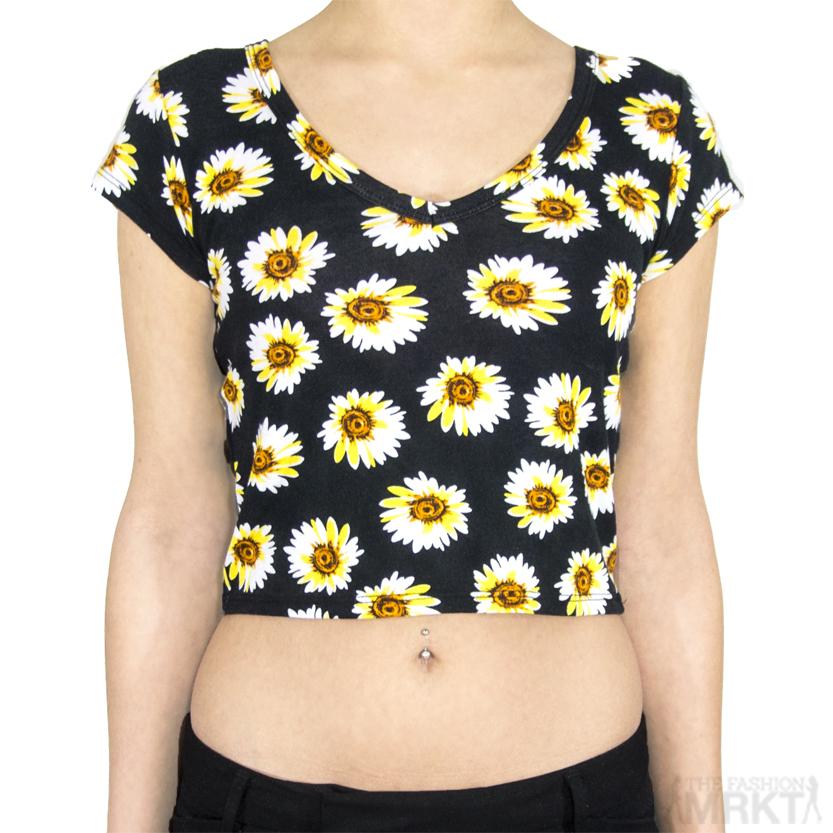 Sunflower Graphic Print Short Sleeve Crop Top Brandy Melville Style / TheFashionMRKT