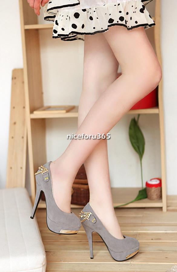 N4U8 Women's Elegant Faux Suede High Heels Chain Embellished Back Pumps Shoes | eBay